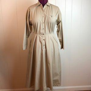 Vintage 70s/80s Khaki Button Down Shirt Dress